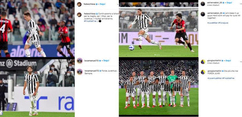 """Juve, i giocatori sui social dopo il Milan: """"Continuiamo a lottare"""""""