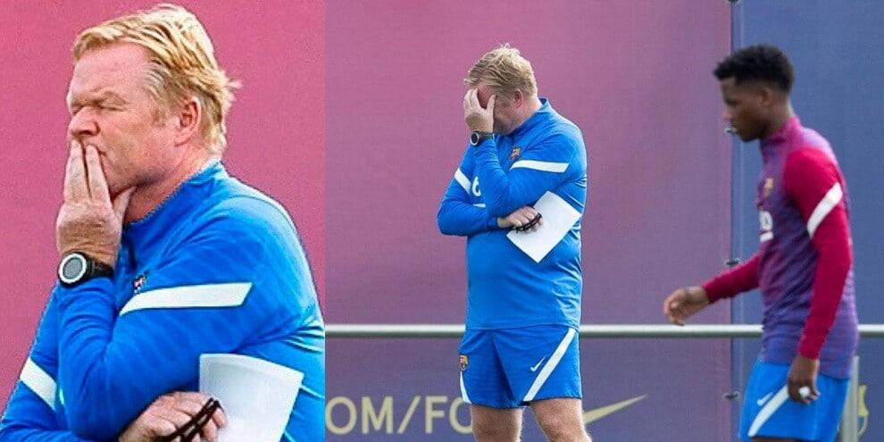 Koeman ai saluti con il Barcellona: testa bassa durante l'allenamento
