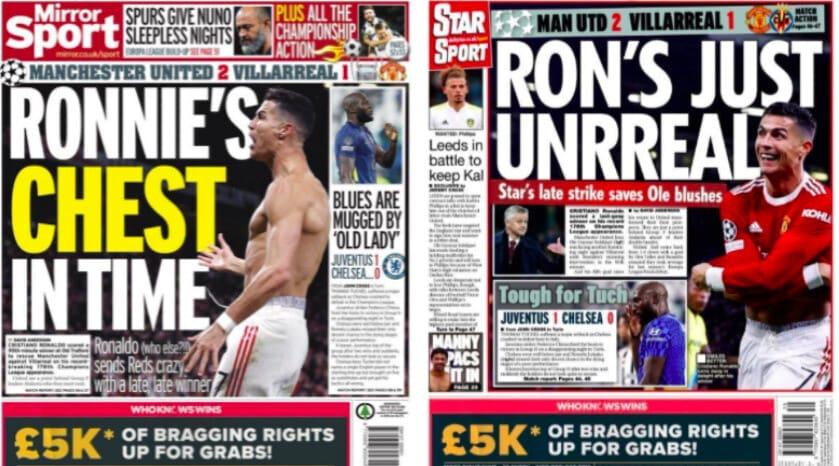 Ronaldo salva il Manchester United: esaltato dai tabloid inglesi