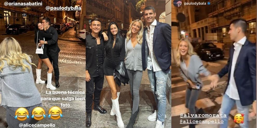 Dybala, Oriana, Morata e Alice: che serata tra pose e risate!