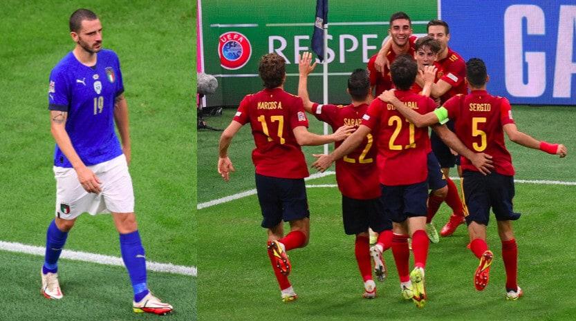 Bonucci espulso, l'Italia va ko con la Spagna