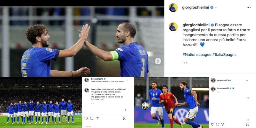 Italia ko contro la Spagna: le reazioni degli azzurri sui social