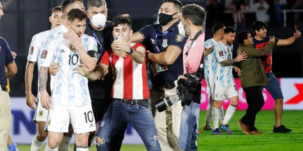 Tutti pazzi per Messi: tifosi del Paraguay in campo per un selfie