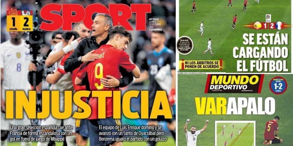 """La Spagna grida all'""""ingiustizia"""" per il gol di Mbappé: le prime pagine"""