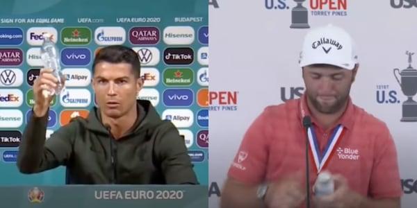Ronaldo e la bottiglietta, lo scherzo di Rahm in conferenza stampa