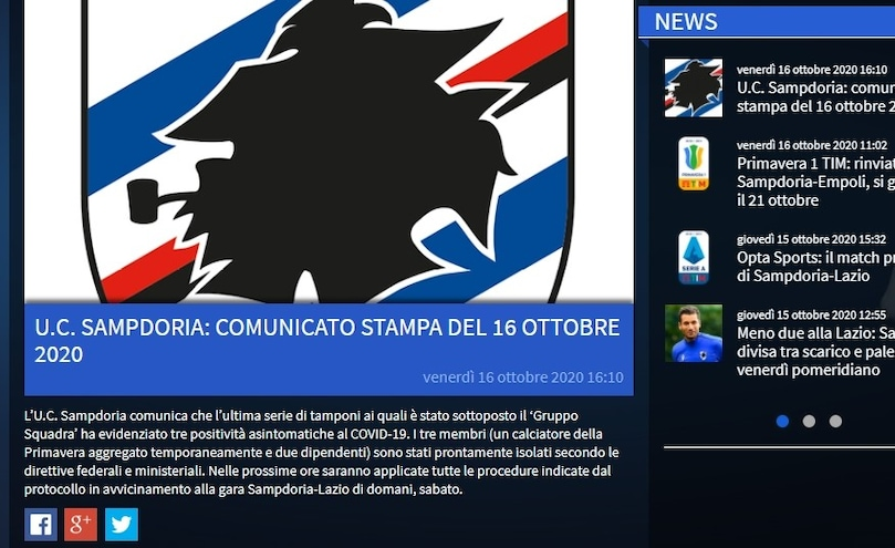 Coronavirus Alla Sampdoria Tre Positivi Nel Gruppo Squadra